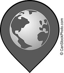 grå, värld, lokalisering, ikon