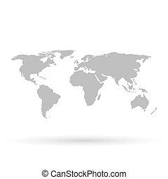 grå, värld, vit fond, karta