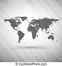 grå, vektor, grunge, karta, struktur, bakgrund, illustration, värld