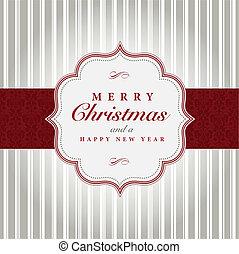 grå, vektor, jul, röd, etikett