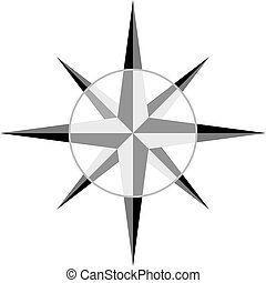 grå, vektor, windrose