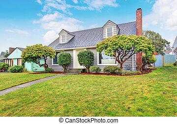 grå, yard., autentisk, hus