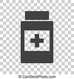 gråne, beholder, medicinsk, mørke, baggrund., tegn., transparent, ikon