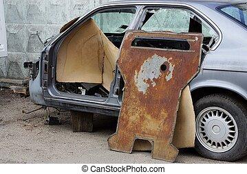 gråne, gamle, rækværk, automobilen, ramme, diasassembleret, dele, rustne, gade