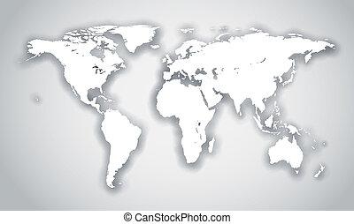 gråne, isoleret, baggrund., facon, verden, hvid, skygge