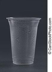 gråne, tom, baggrund., glas, plastik