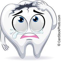 græderi, mascot, brudt, tand