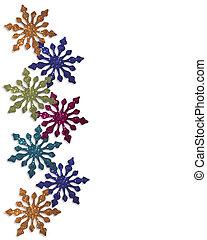 grænse, sneflager, farverig, vinter