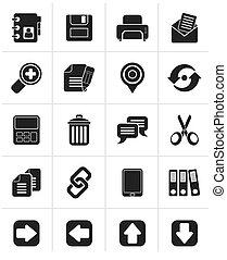 grænseflade, sort, ikoner internet