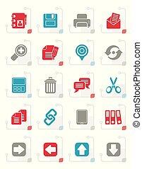 grænseflade, stylized, iconerne, internet