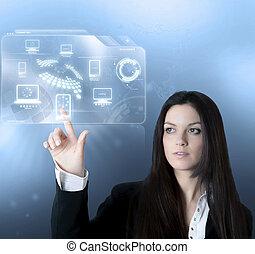 grænseflade, teknologi, virtuelle