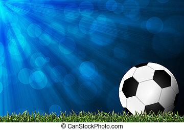 græs, fodbold, grøn baggrund, farverig