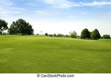 græs, golf, felter, grønne, beautigul, sport