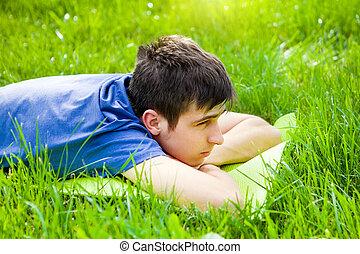 græs, sørgelige, mand