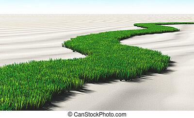 græsbevoksede, sti, sandet