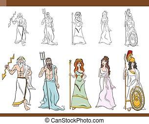 græsk, cartoon, illustration, guder