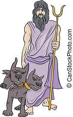græsk, hades, cartoon, illustration, gud