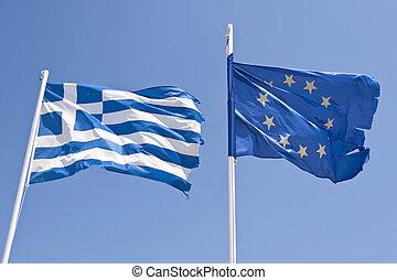 græsk, og, europæisk flag