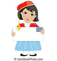 græsk, pige, tegn