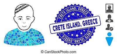 grèce, île, crète, collage, tamponnez icône, détresse,...