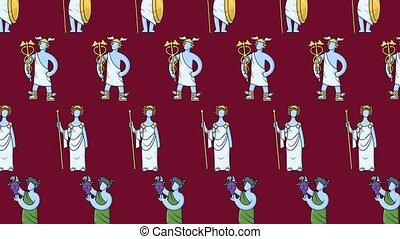 grèce, ancien, fait boucle, animé, dieux, coloré, mythology...