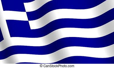grèce, drapeau ondulant