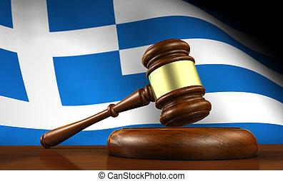 grèce, droit & loi, et, justice, concept