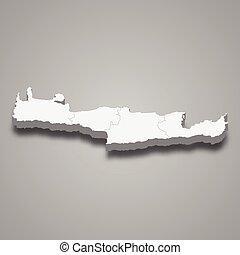 grèce, région, carte, crète, isométrique, 3d