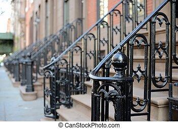 grès brun, appartement, étapes