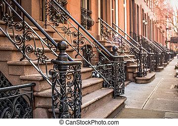 grès brun, city., voisinage, appartement, york, chelsea, ...