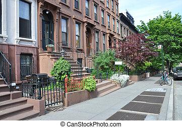 grès brun, trottoir, urbain, ville