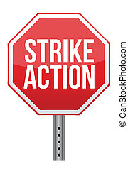 grève, action, illustration, signe