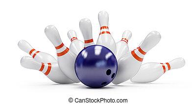 grève, fond blanc, bowling
