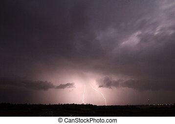 grève, orage, éclair