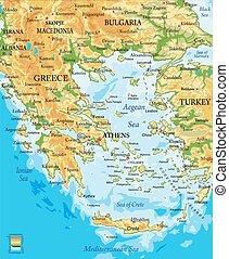 grécia, mapa, alívio