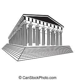 grécia, parthenon, esboço, vetorial