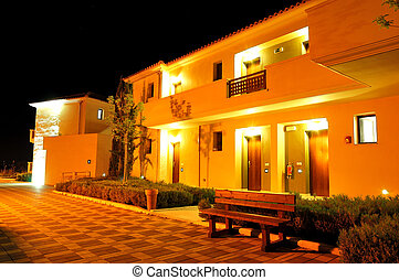 grécia, pieria, vilas, luxo, noturna, iluminação