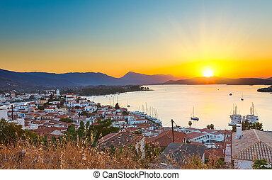grécia, poros, pôr do sol