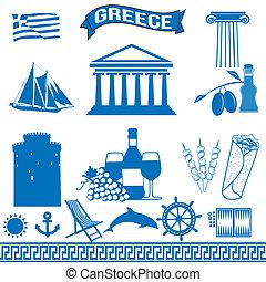 grécia, tradicional, grego, símbolos