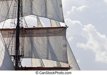 gréement, barquentine, voiles, yacht, fond