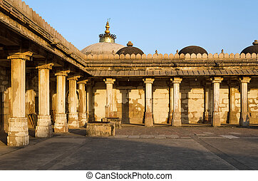 grób, colonnaded, mehmud, begada, gujarat, historyczny, sułtan
