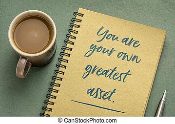 größten, dein, inspirational, eigen, wert, merkzettel, sie
