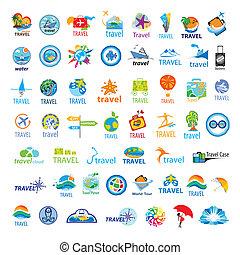 größten, logos, reise, vektor, sammlung