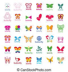 größten, logos, vlinders, vektor, sammlung