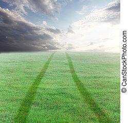 grön äng, väg, sunset.