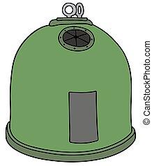 grön, återvinnande behållare