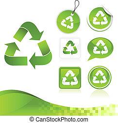 grön, återvinning, design, utrustning