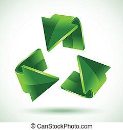 grön, återvinning, pilar