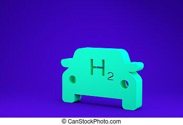 grön, 3, drivmedel, ikon, illustration, eco, vänskapsmatch, noll, cell, h2, render, minimalism, isolerat, emission., station, blå, skylt., bil, miljö, concept., väte, bakgrund.