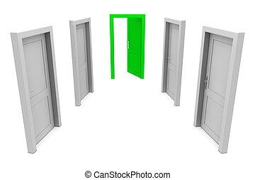 grön, använda, dörr